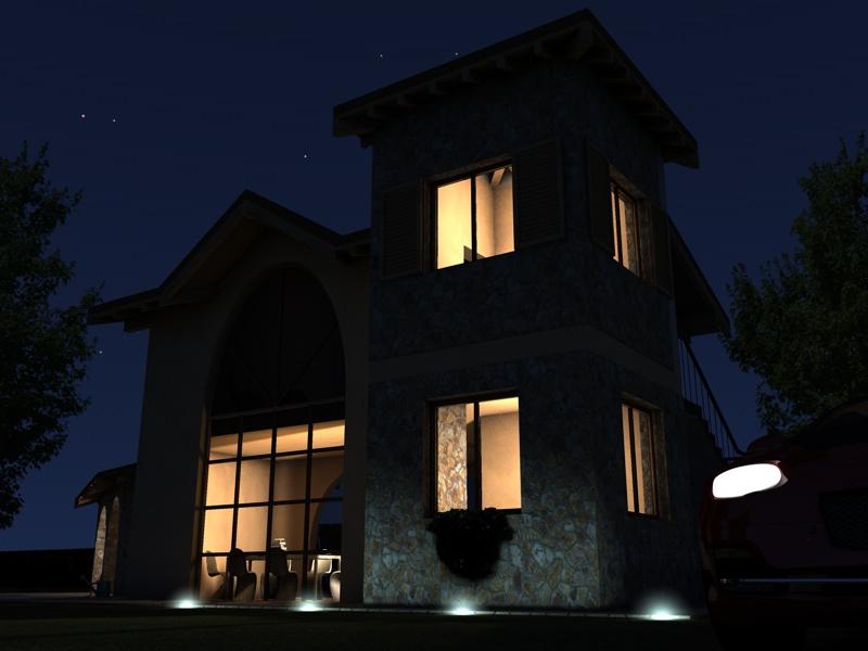 Illuminazione notturna di un esterno con gi michele for Arredi archicad