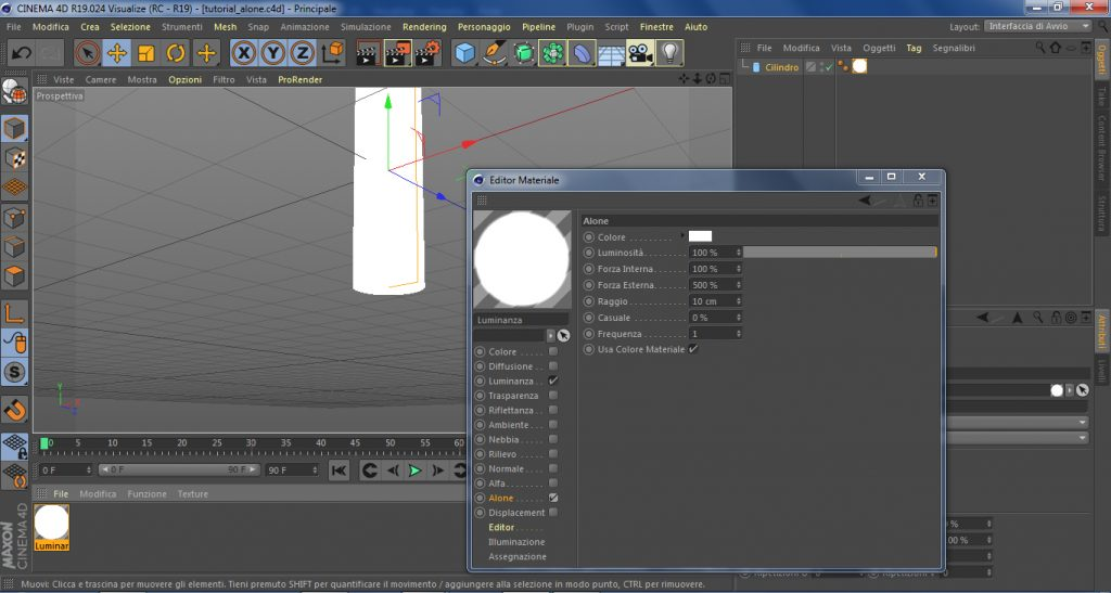 Alone e trasparenza in cinema 4d