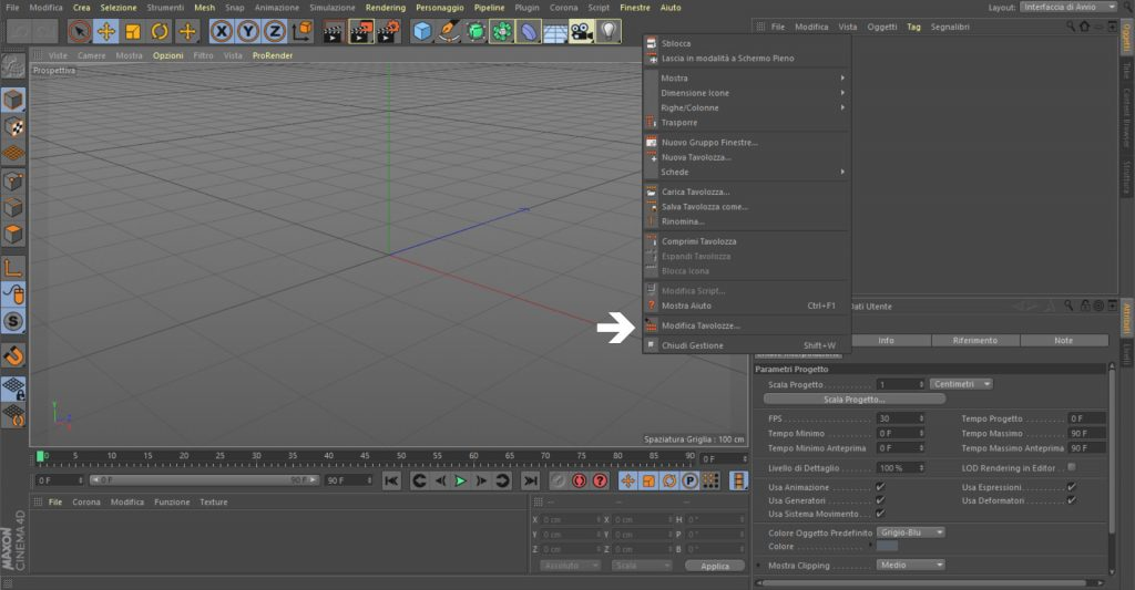 personalizzare interfaccia c4d